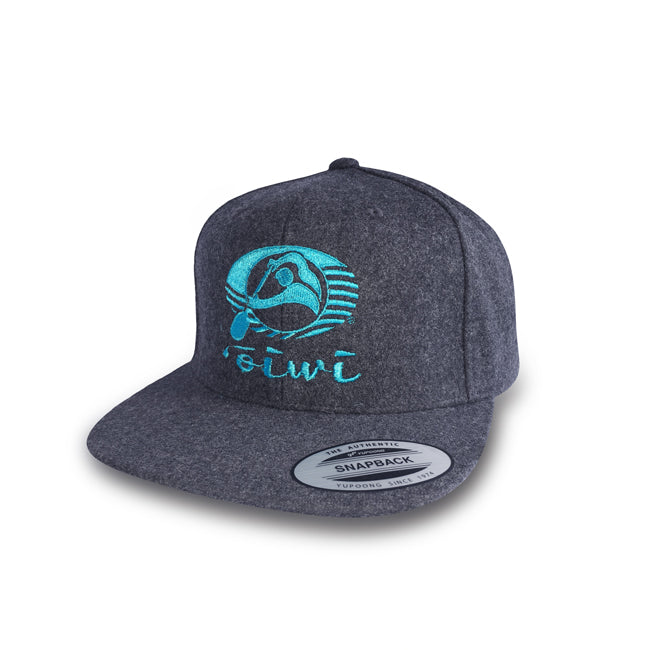 Oiwi Logo Flat Bill Hat in Charcoal - Oiwi