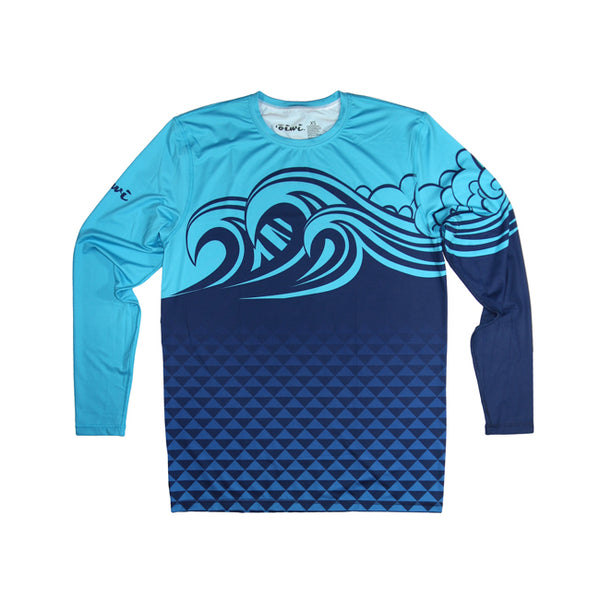 Sumi-E Swells Long Sleeve UPF 30 Shirt - Oiwi