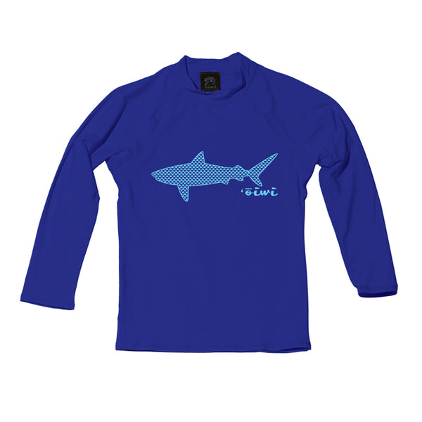Tiger Manō Keiki Long Sleeve UPF 50+ Shirt in Royal Blue - 'Ōiwi