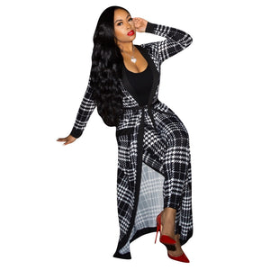 Women 2 Piece Suit Long Sleeve Plaid