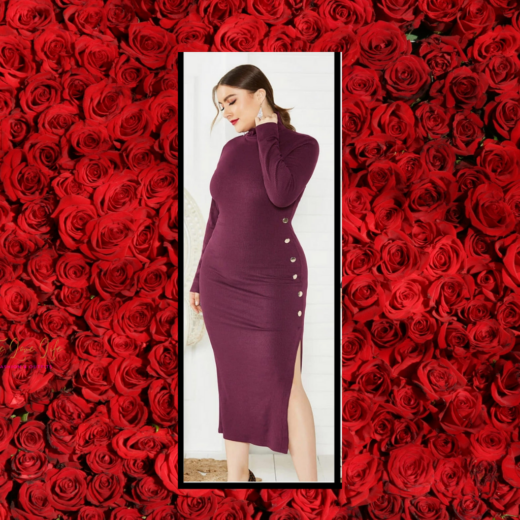 Plus Size Long Sleeve Turtleneck Knit Midi Dress!