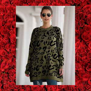 "Oversized long sweaters, O neck leopard print ""LimitedQuantities"""