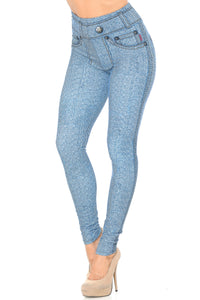CREAMY SOFT BEAUTIFUL BLUE JEAN LEGGINGS