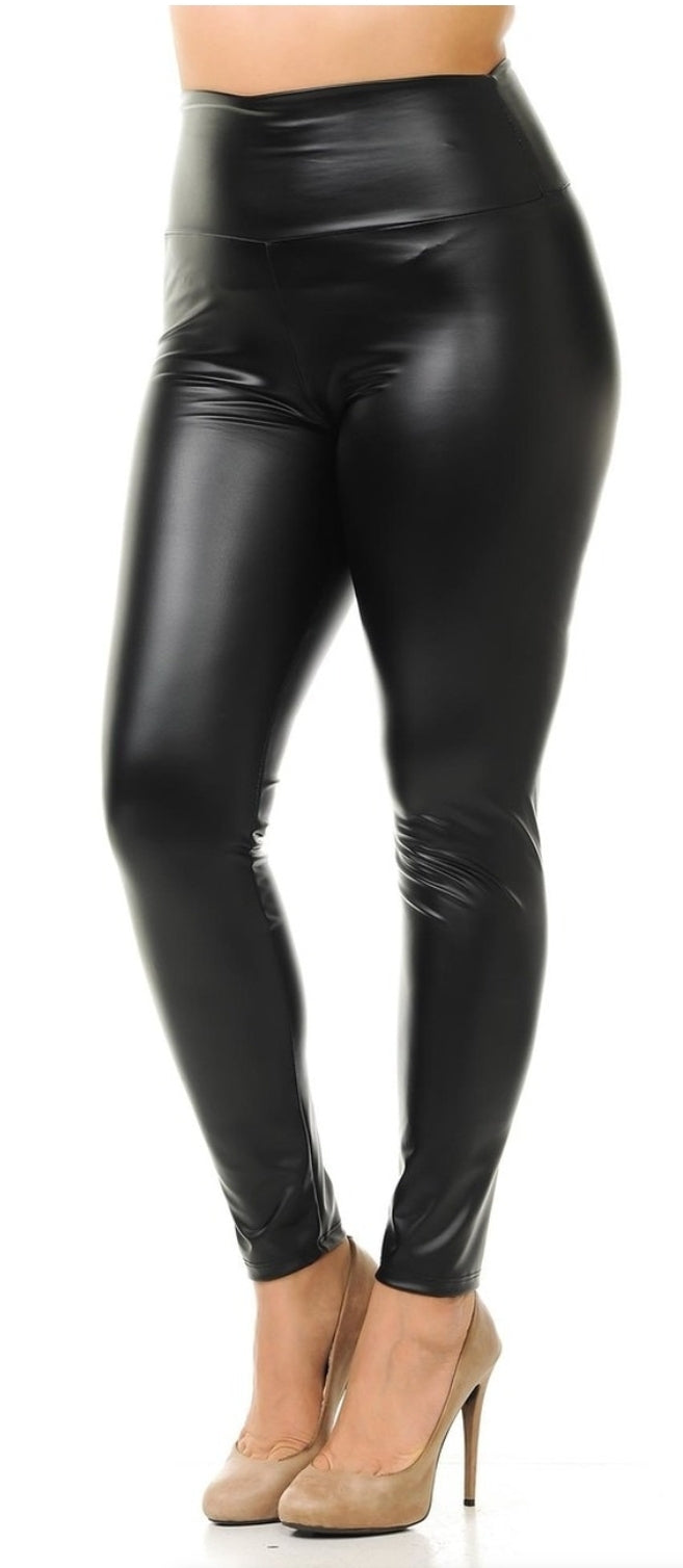 Matte Finish High Waisted Faux Leather LEGGINGS