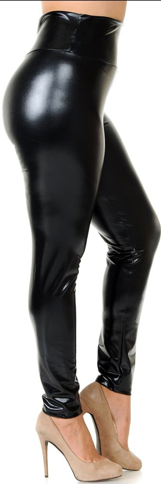 Shiny High Waisted Faux Leather LEGGINGS
