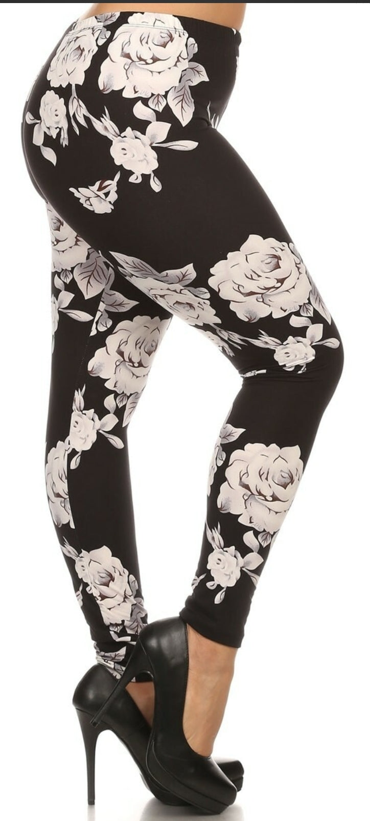 CREAMY SOFT JUMBO WHITE ROSE LEGGINGS