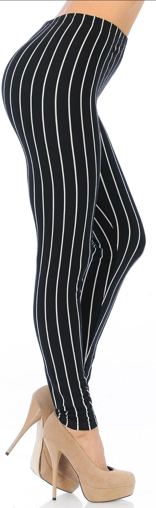 BUTTERY SOFT VERTICAL BLACK PINSTRIPE LEGGINGS