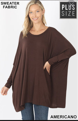 OVERSIZED ROUND NECK PONCHO SWEATER