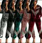 Women's 2 Piece Set Velour Track Suit with Animal Print