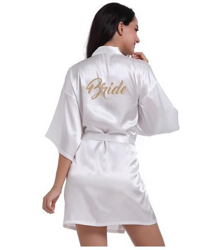 Satin Robe for Bride and Bridal Party (Letters on Back)