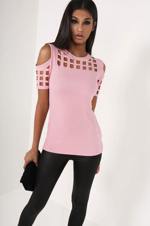 Madame Royale Block Cold Shoulder Blouse