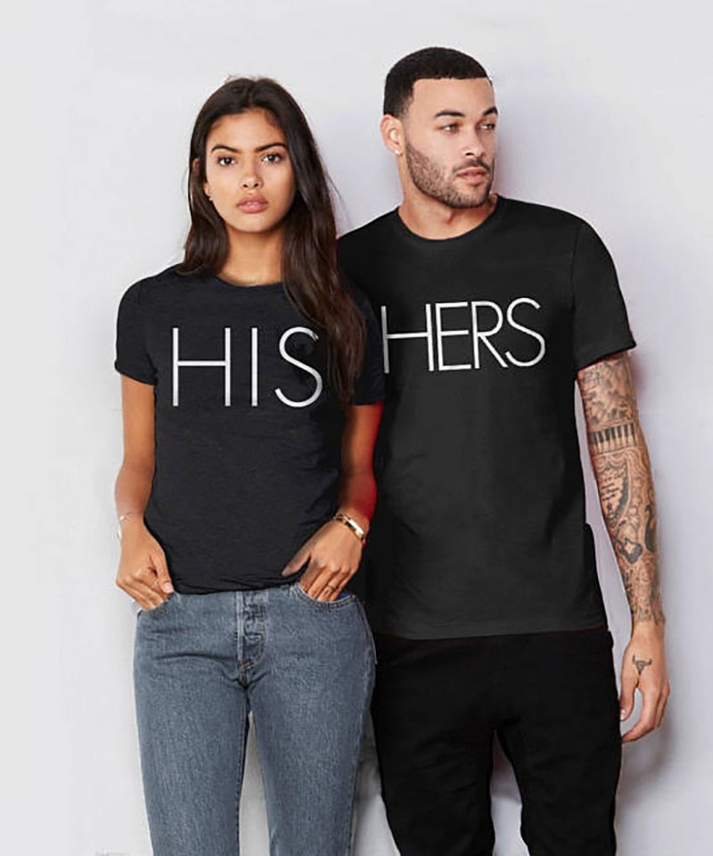 Boyfriend and Girlfriend Matching T Shirt HIS AND HERS