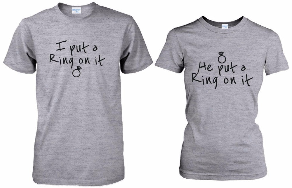 Couple Tee His And Hers Wedding/Engagement Matching Tee Shirts