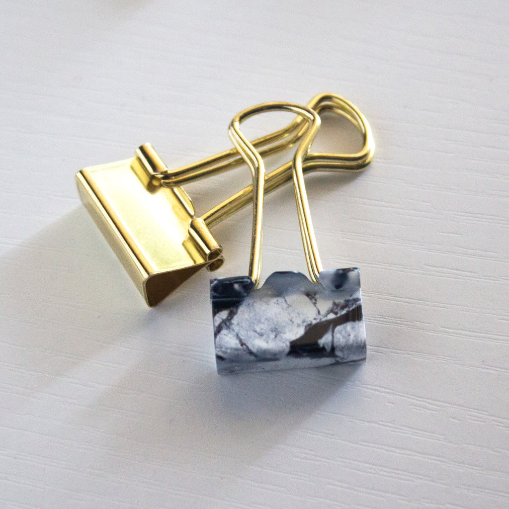 Marble & Gold Binder Clips