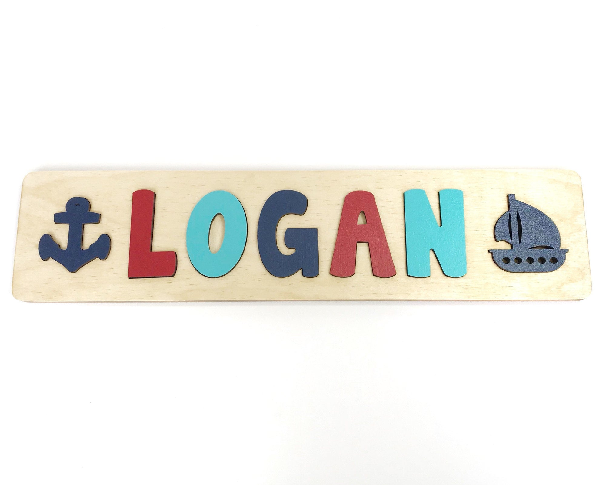 Nautical Name Puzzle with Boat and Anchor, Gift for Kids, Toddler Name Puzzle