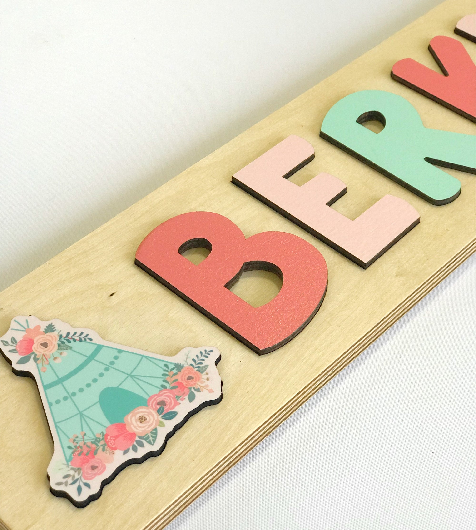 Toddler Name Puzzle Coral and Mint Gift For Girl Nursery Decoration