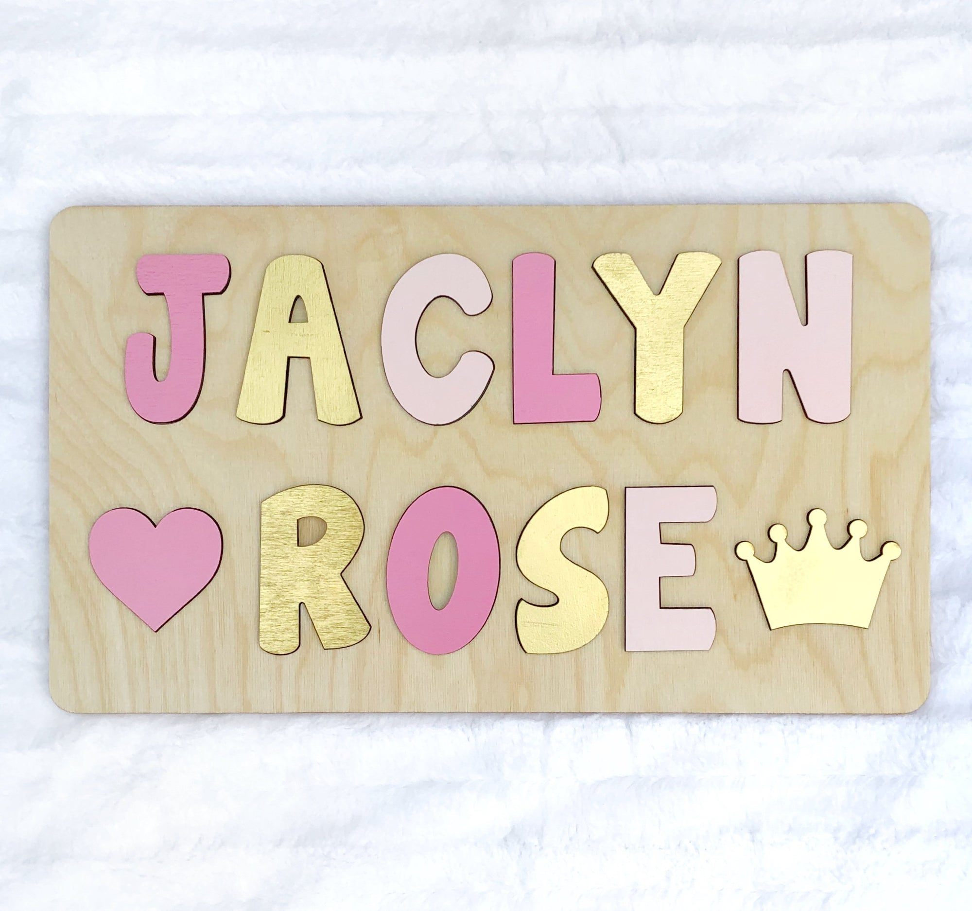 Pink and Gold Wooden Name Puzzle, Easter Gift for Girl, First Birthday Gift