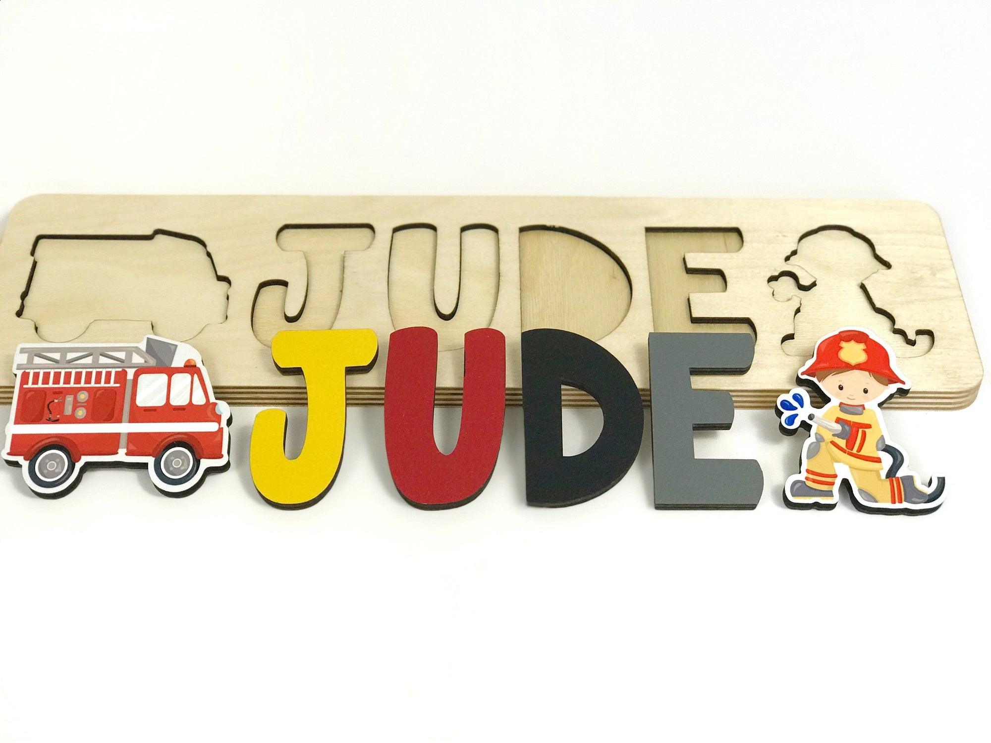 Firefighter Wooden Name Puzzle for Boy, Gift for Kids