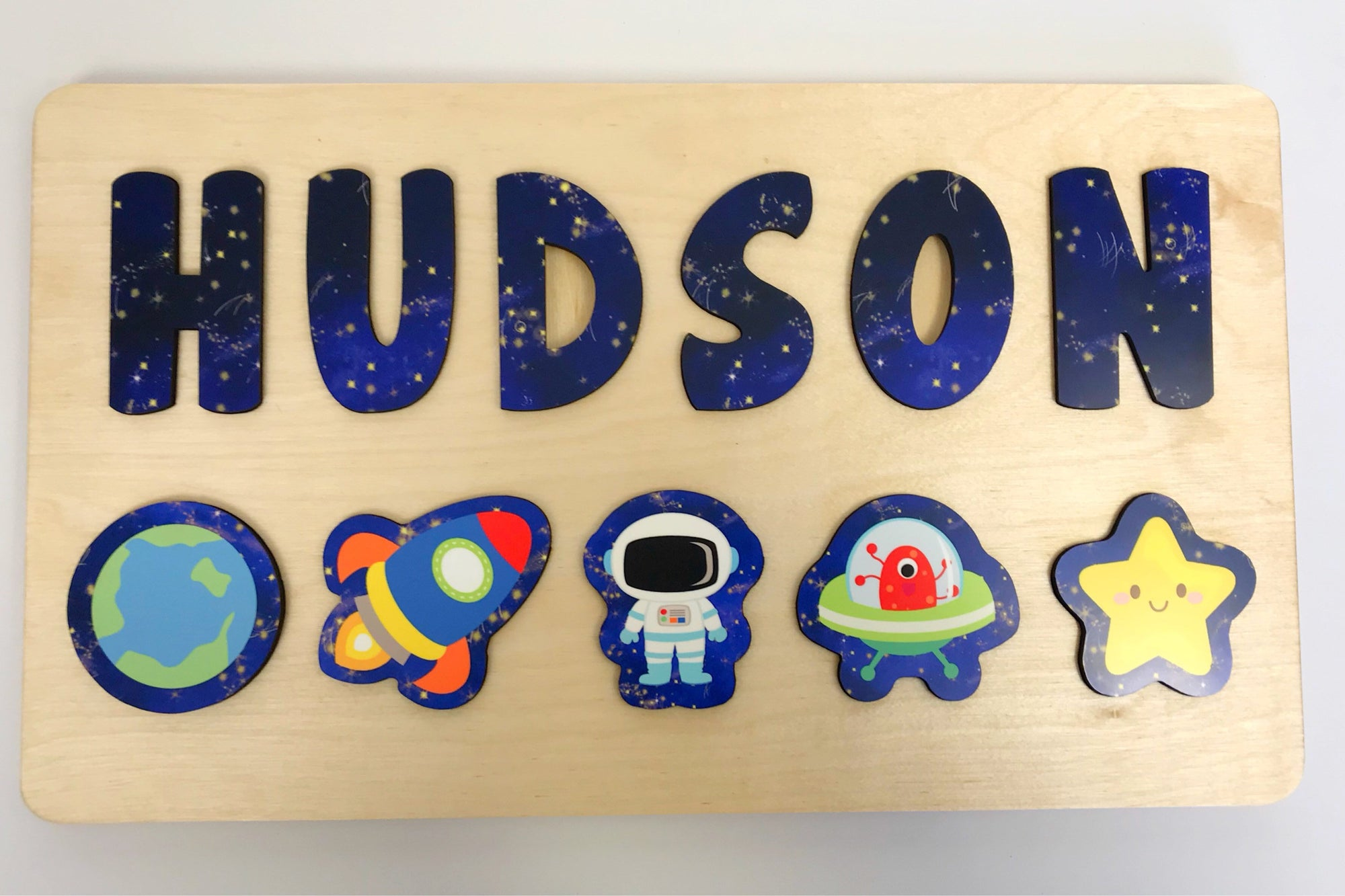 Space Wooden Name Puzzle for Toddler, Gift for Kids, Kids Puzzle with Astronaut Spaceship Alien and Star