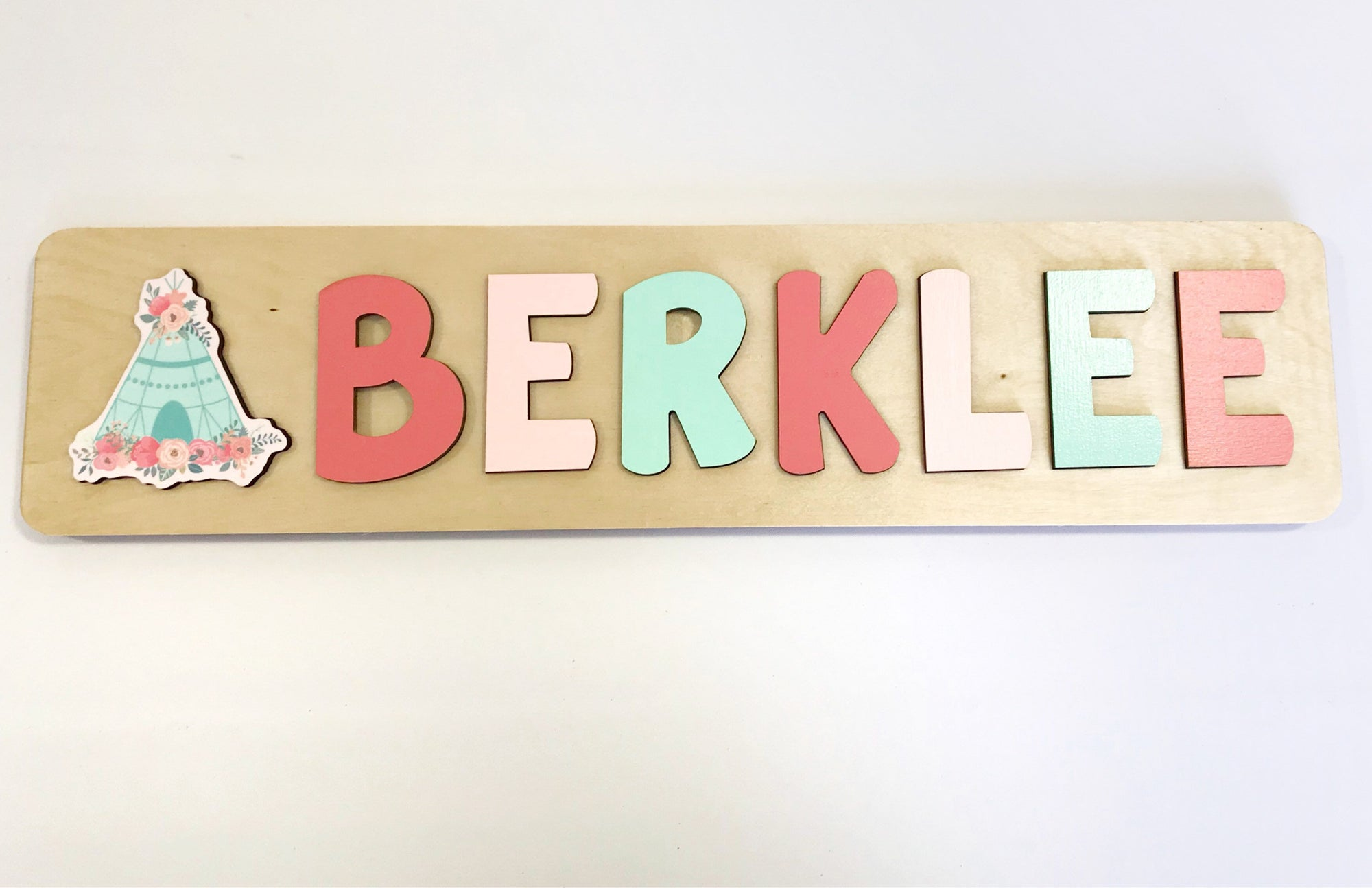 Boho Wooden Puzzle Name with Teepee in Coral and Mint, Gift for Toddler Girl