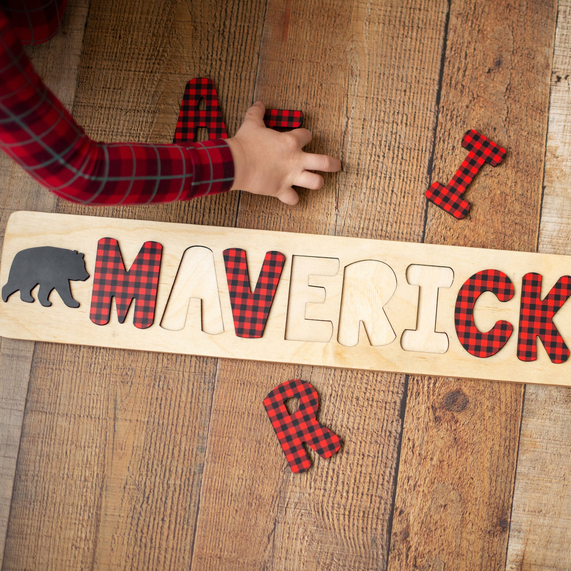 Buffalo Plaid Name Puzzle, Lumberjack First Birthday, Personalized Wooden Puzzle