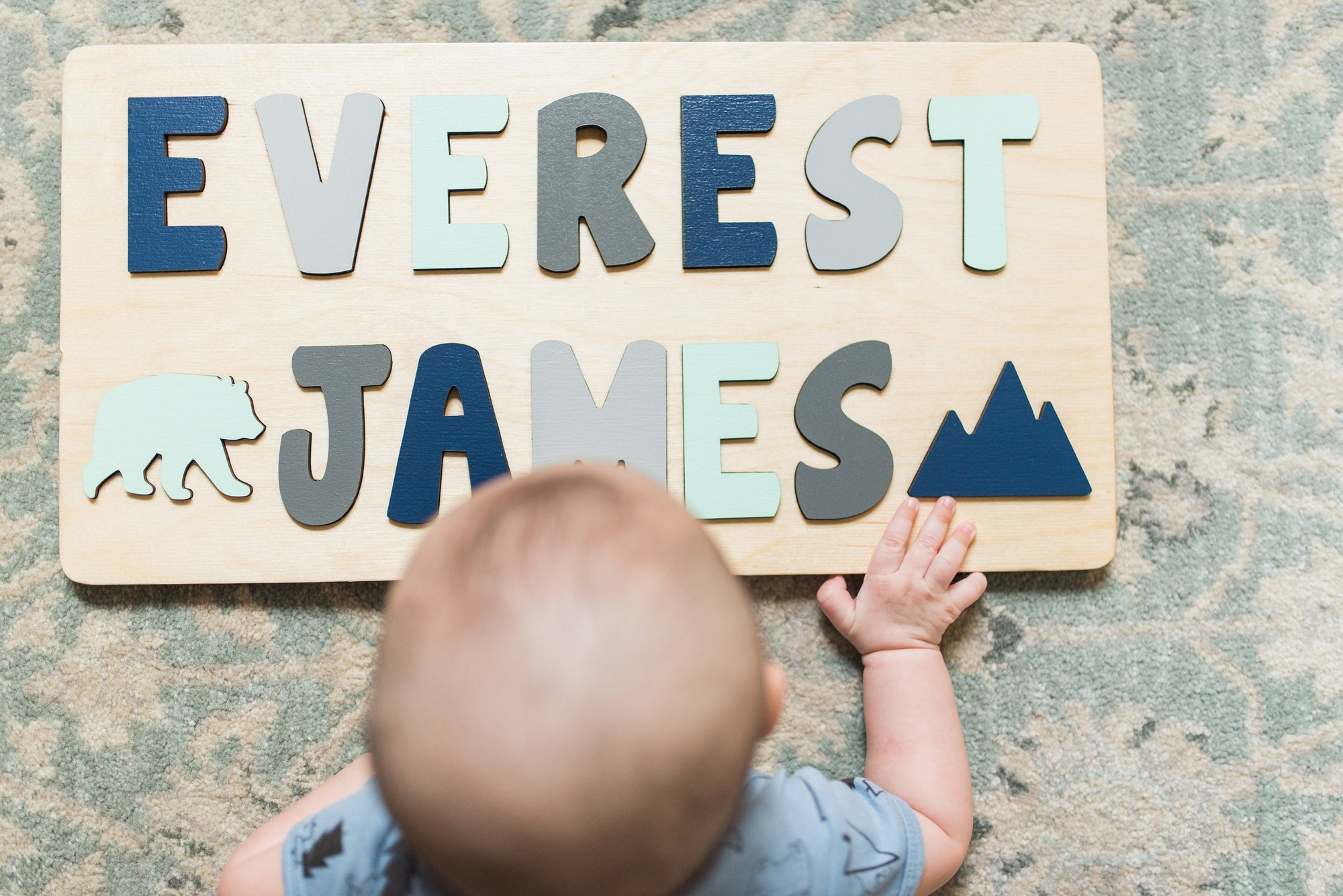 Wooden Name Puzzle, Gift for Kids, Adventure Theme Nursery