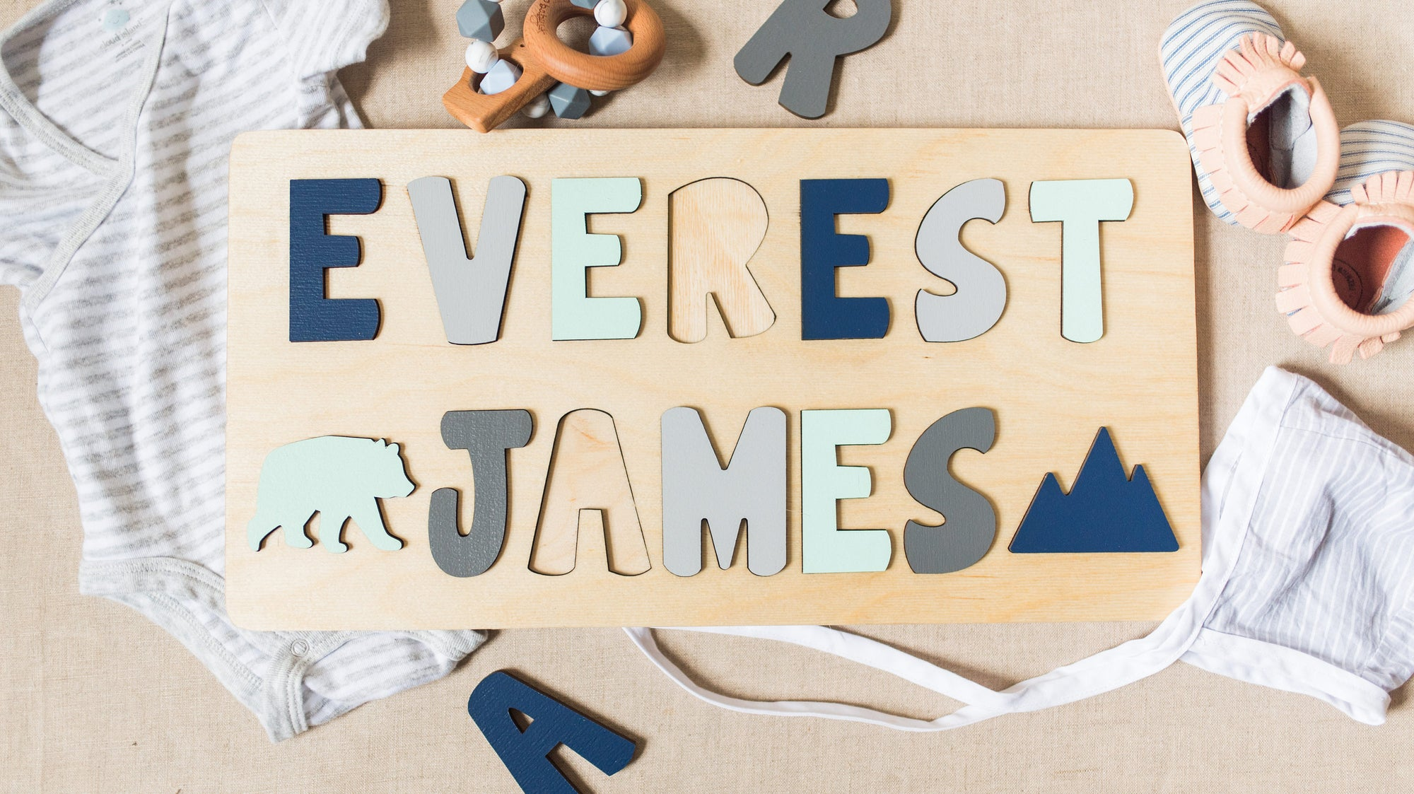 Wooden Name Puzzle for Toddler with Two Names, Christmas Gift for Kids