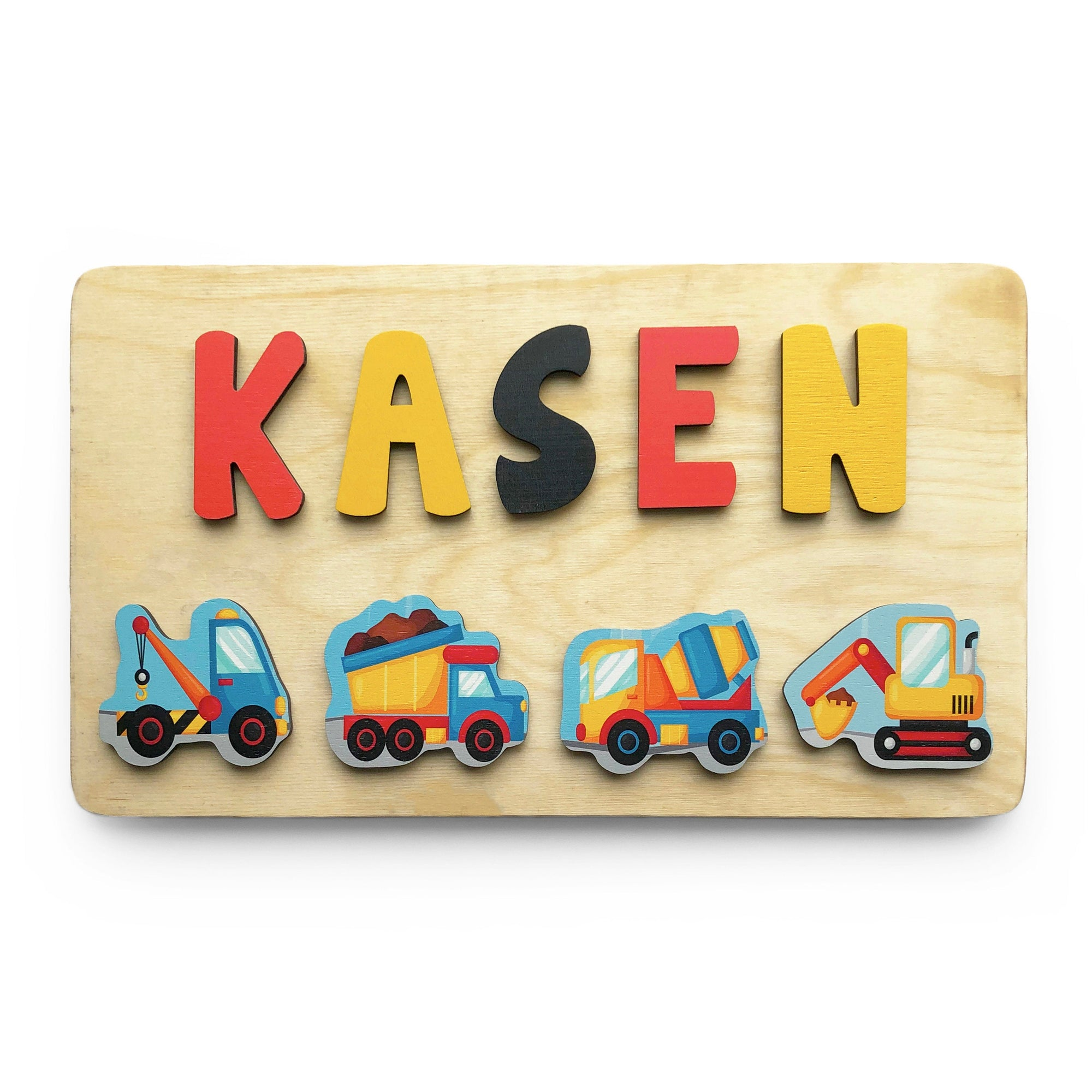 Construction Wooden Name Puzzle, Gift for Boy, Construction Birthday Party, Easter Basket Filler