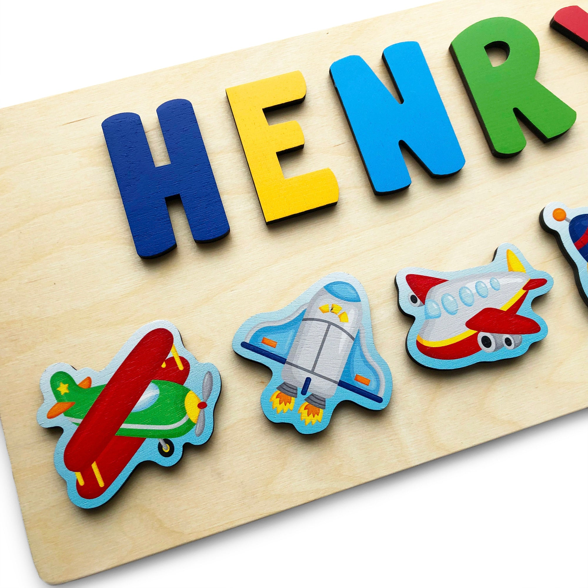 Wooden Name Puzzle for Toddler, Easter Gift for Kids, Airplanes, Rocket Ship, Gift for Boy, Airplane Nursery