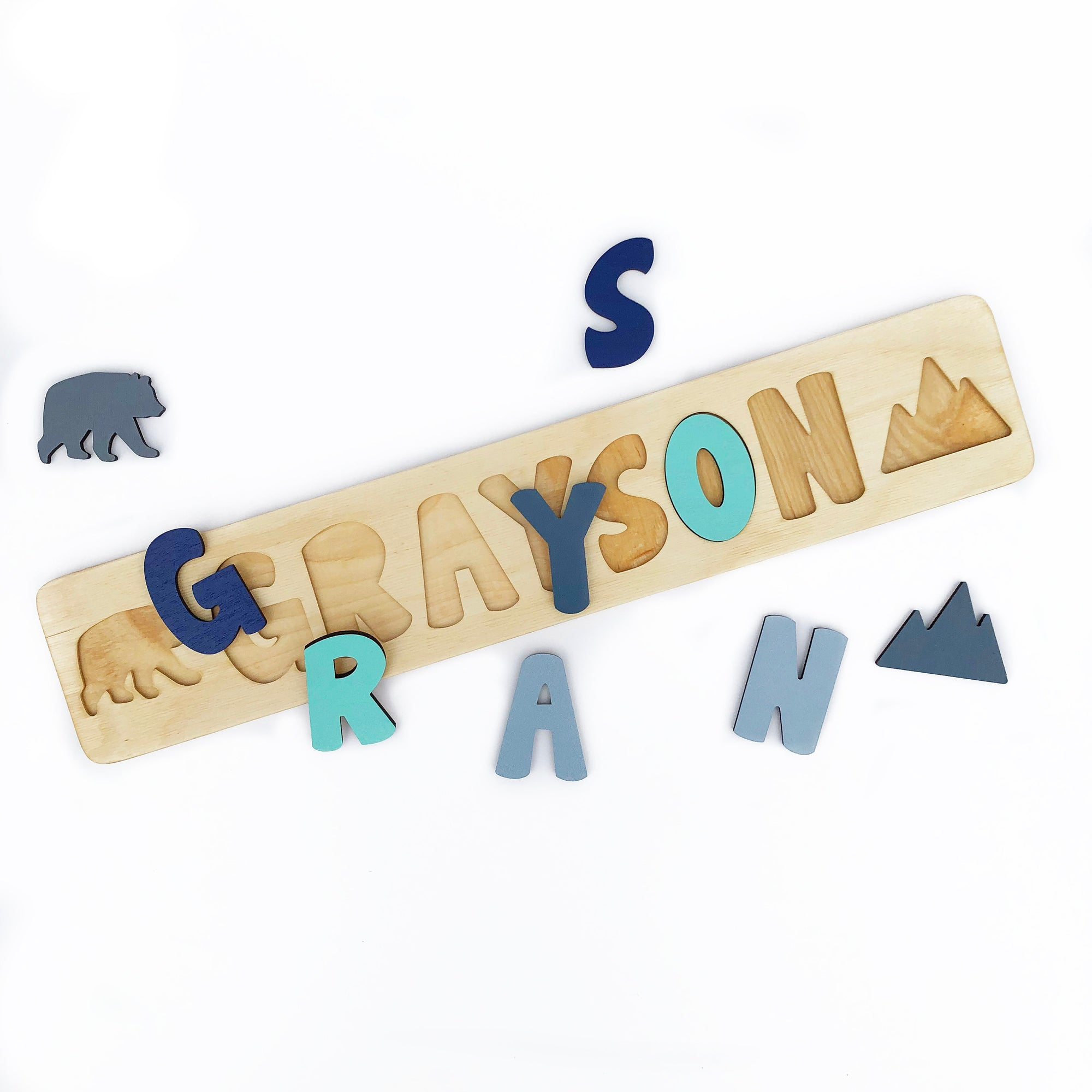 Wooden Name Puzzle with Bear and Mountain, Personalized Gift for Toddlers