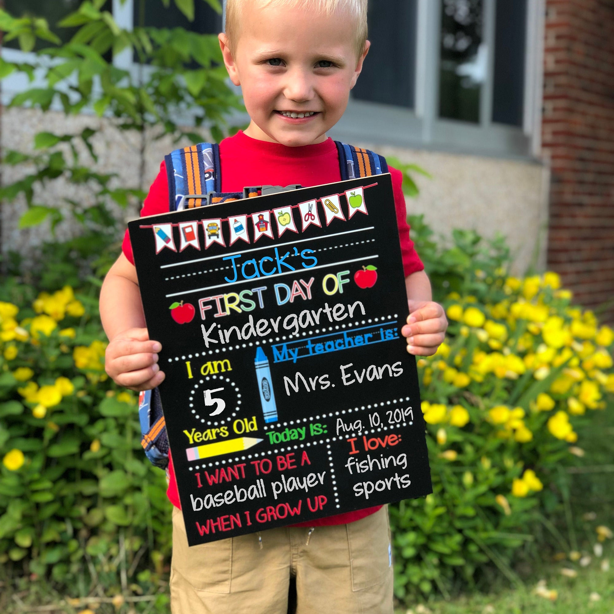 First Day of School Chalkboard,  Real Reusable First Day of School Sign for Girl or Boy, Kindergarten, Preschool