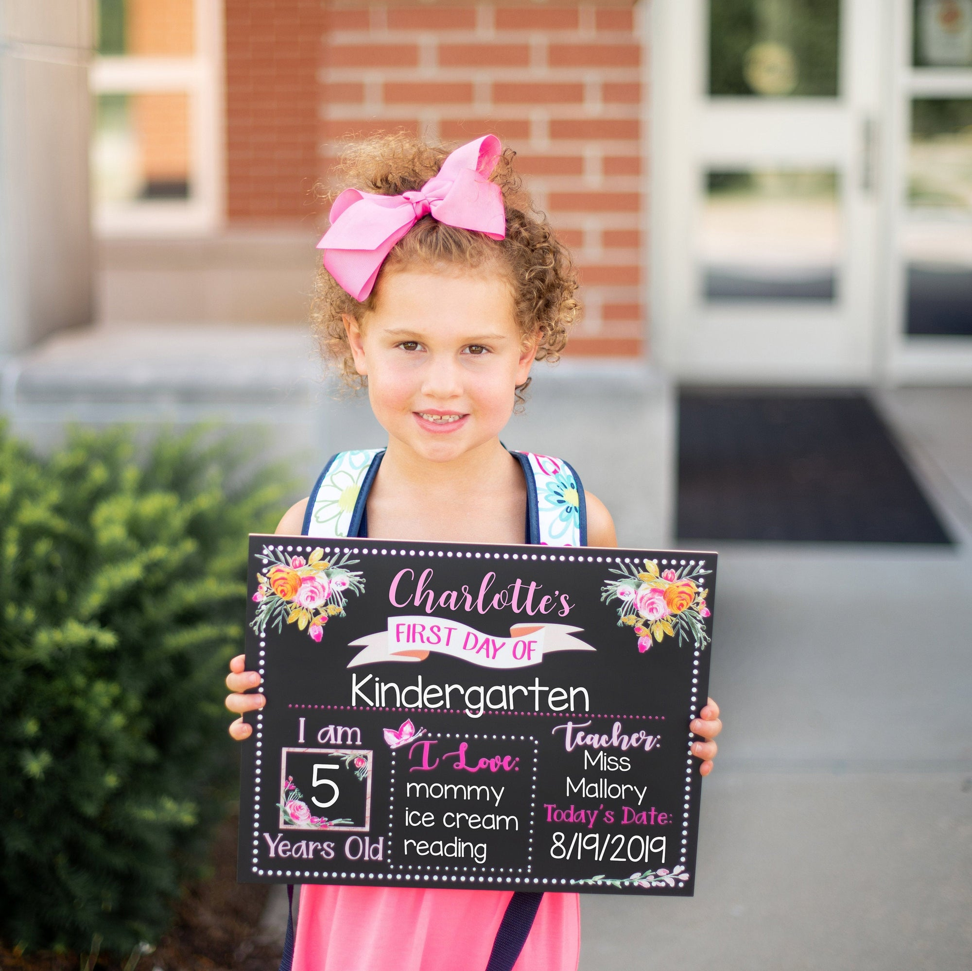 First Day of School Chalkboard,  Real Reusable First Day of School Sign for Girl, Kindergarten, Preschool, Pink Floral Flowers