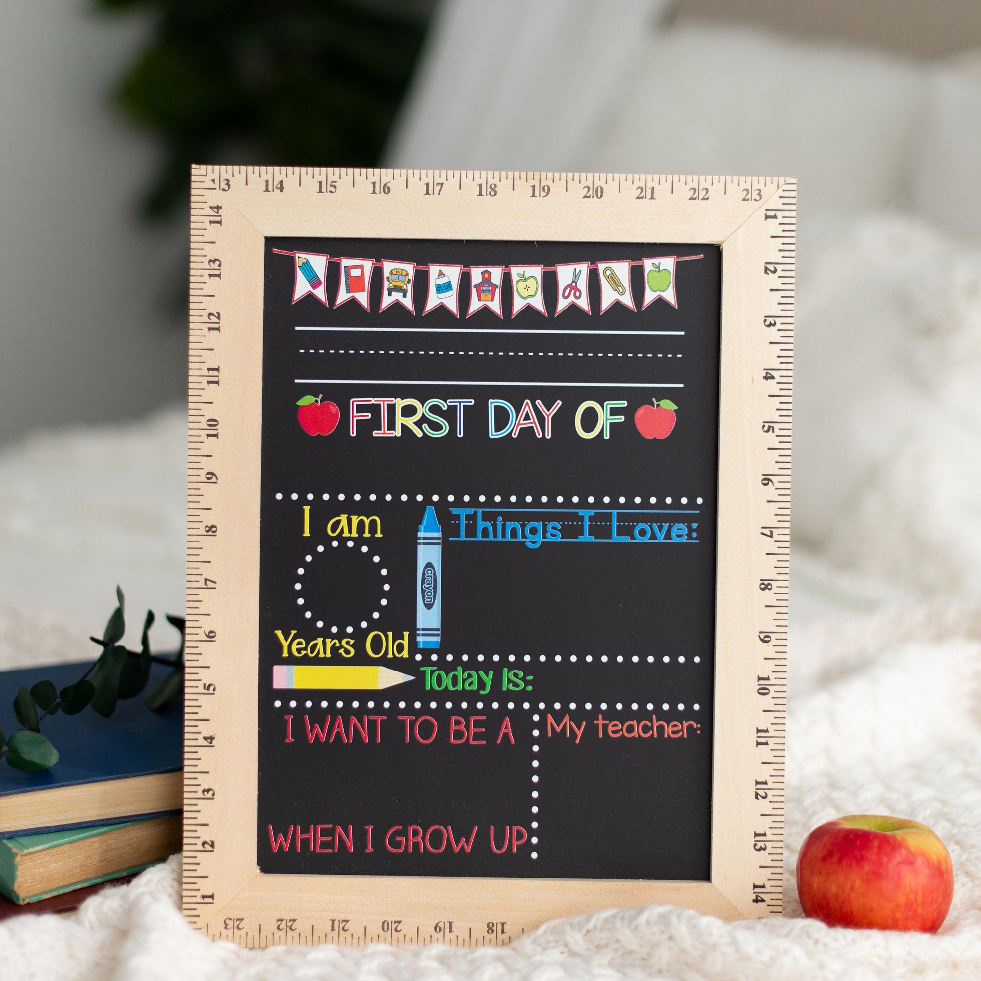 First Day of School Chalkboard,  Reusable First Day of School Sign with Ruler Frame