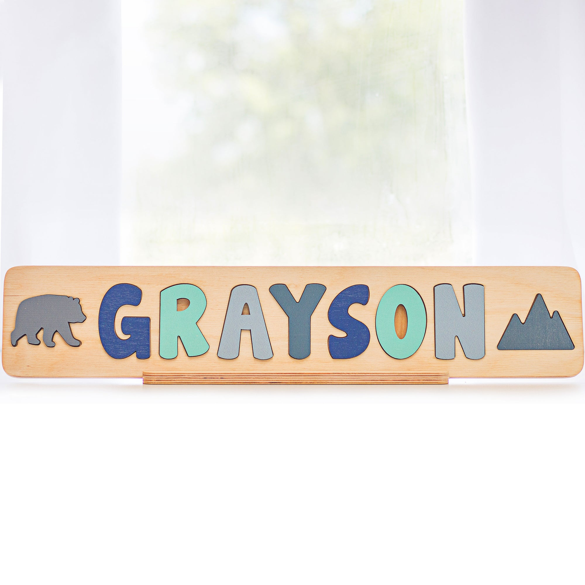 Wooden Name Puzzle with Bear and Mountain, Wooden Toy, Personalized Gift for Toddlers