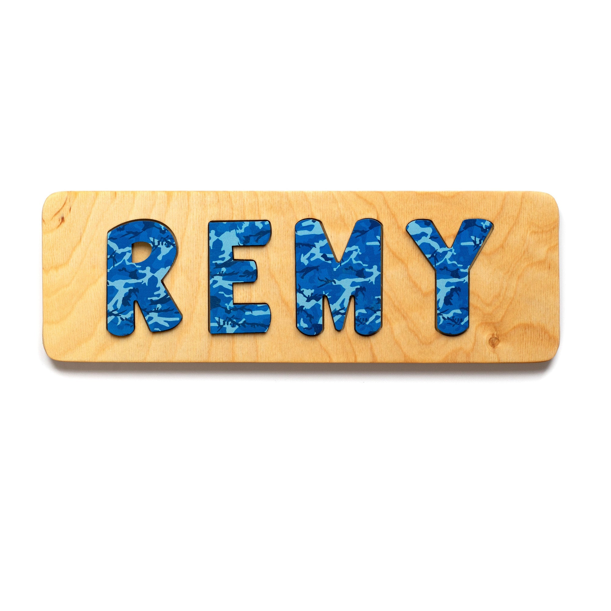 Wooden Name Puzzle, Toddler Gift, Nursery Boy, Camouflage