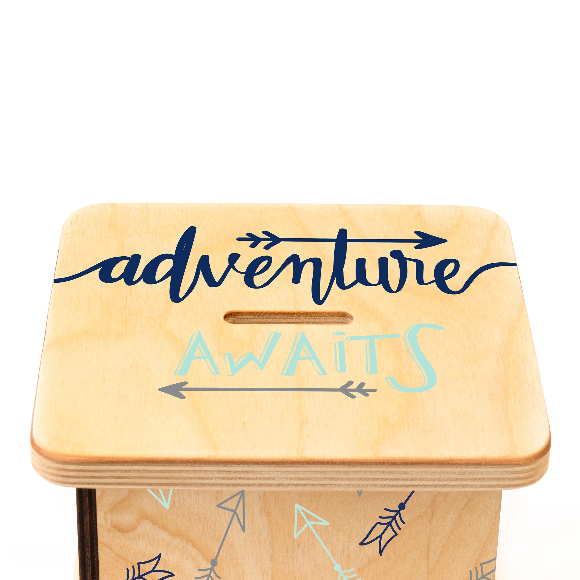 Custom Piggy Bank, Adventure Awaits Nursery Decor, First Birthday Gift for Boy
