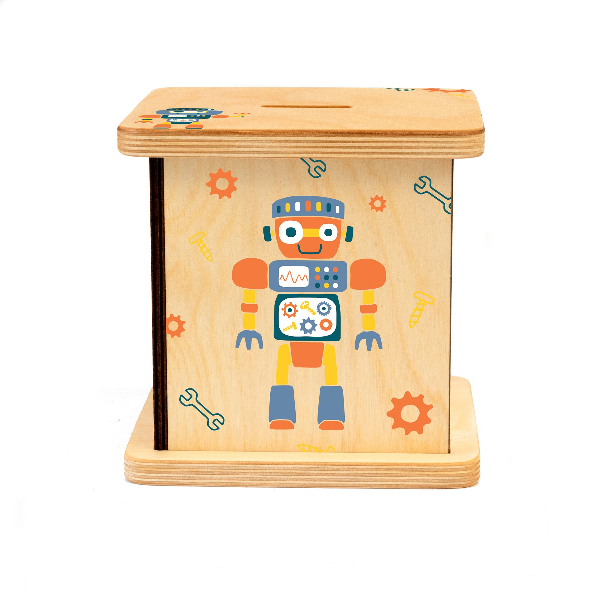 Wooden Robot Piggy Bank, Baby Boy Gift, First Birthday Gift for Boy