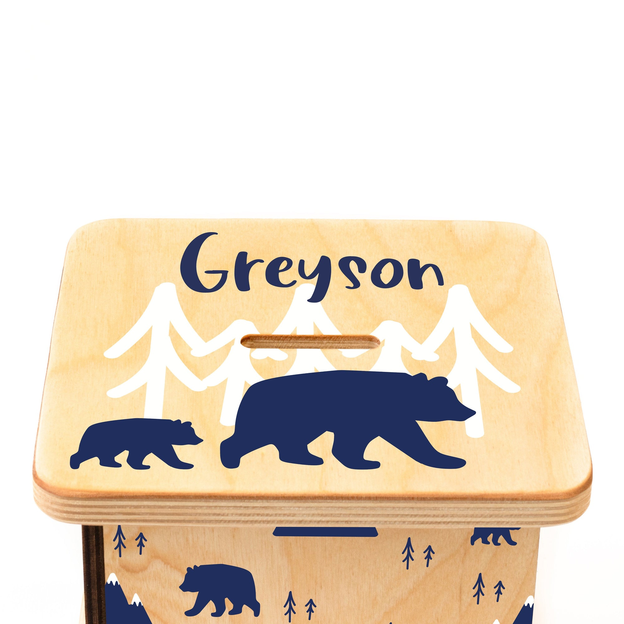 Personalized Piggy Bank, Bear And Mountain Nursery Decor, Coin Bank