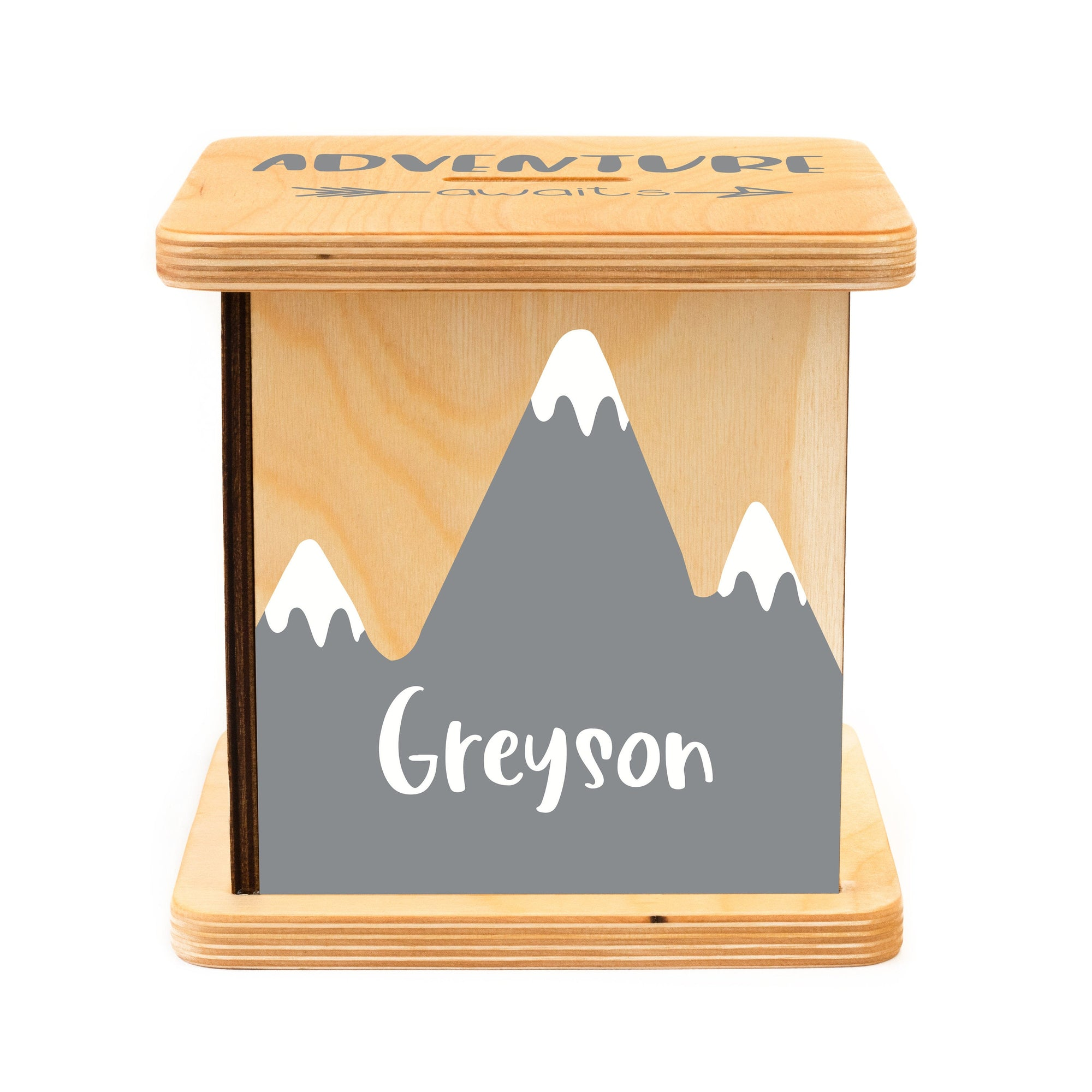 Personalized Piggy Bank, Kids Room Decor, Adventure Baby Shower