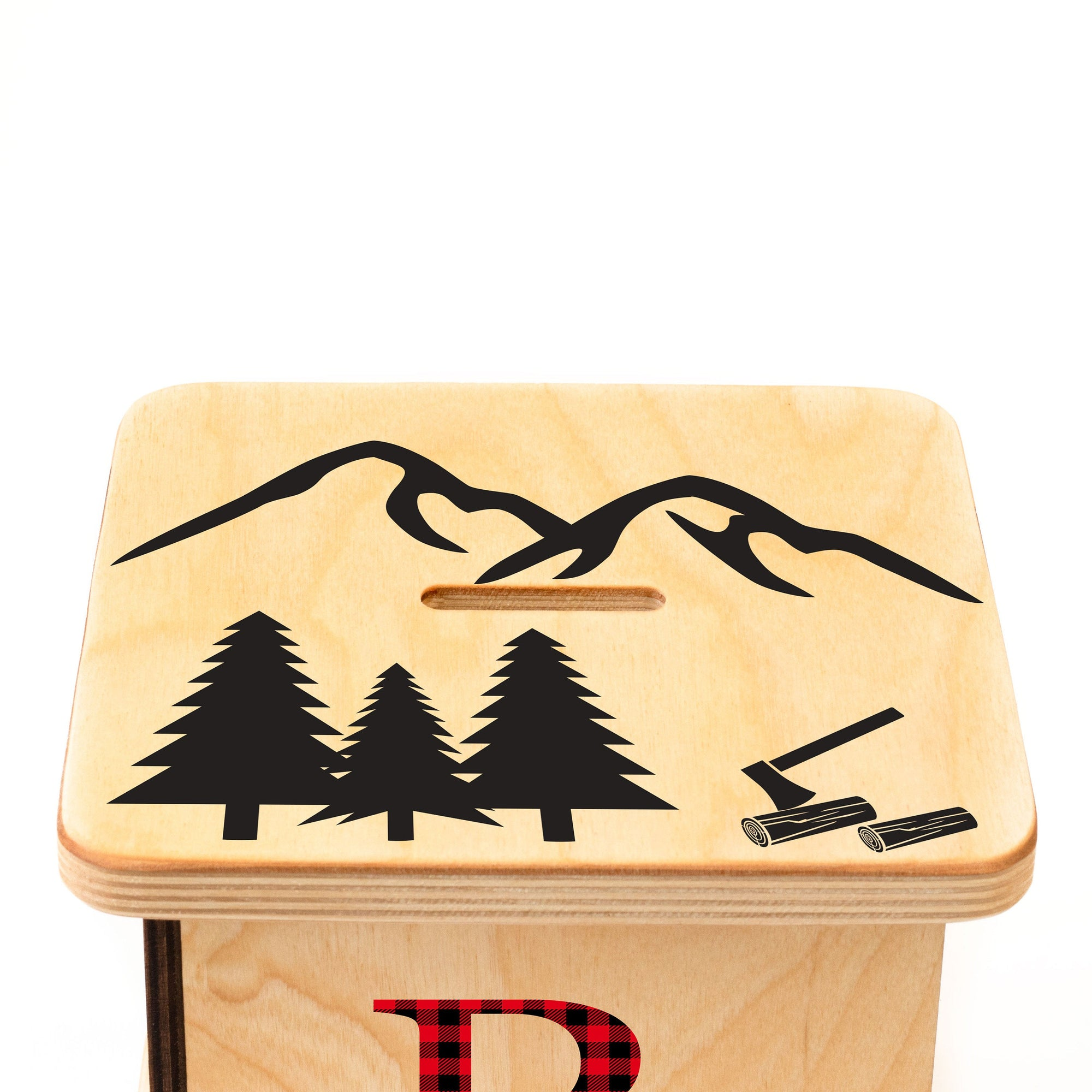 Wooden Piggy Bank, Buffalo Plaid, Baby Shower Gifts, Personalized Coin Bank