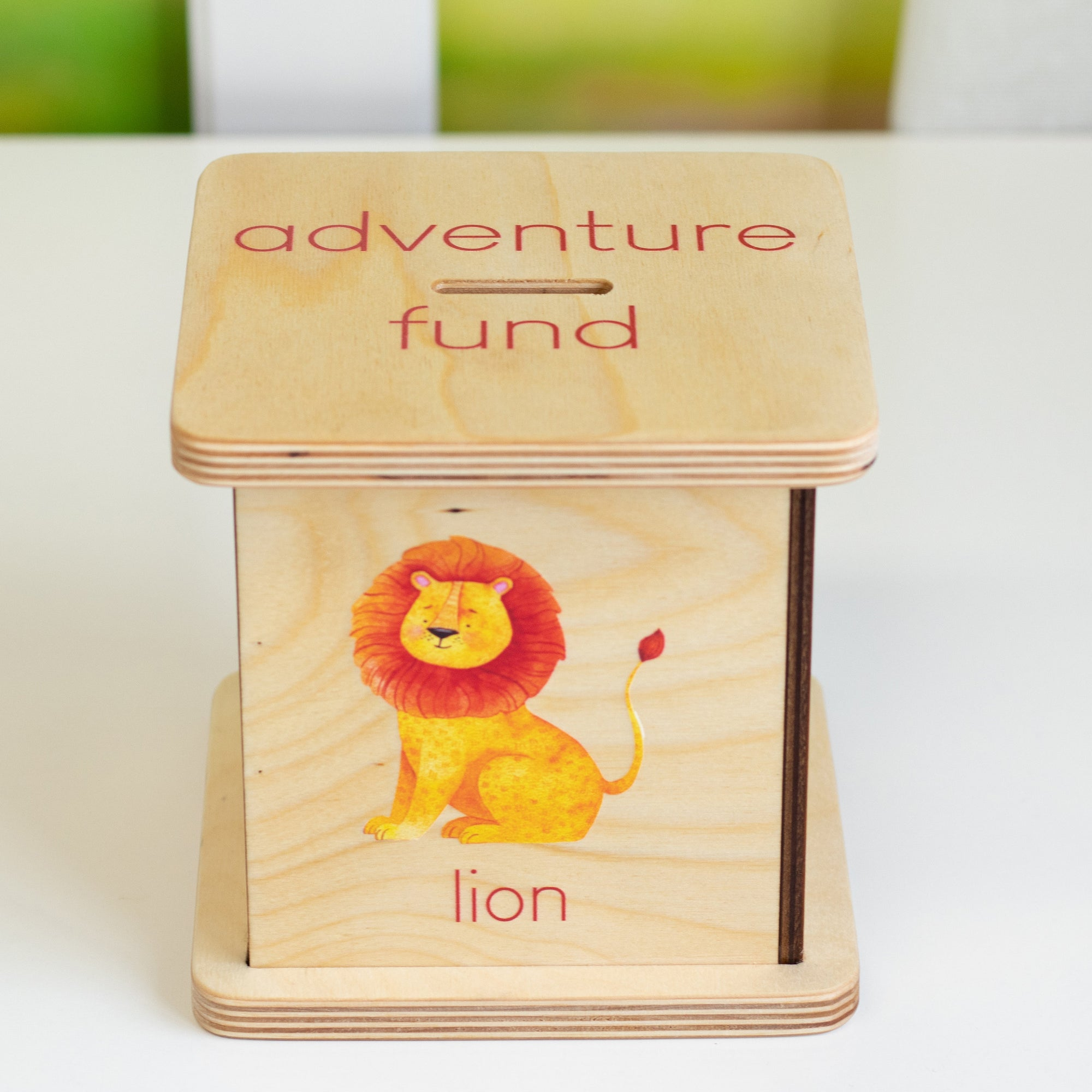 Personalized Piggy Bank, Baby Shower Gift, Jungle Nursery Decor, Custom Wood Money Box, Safari