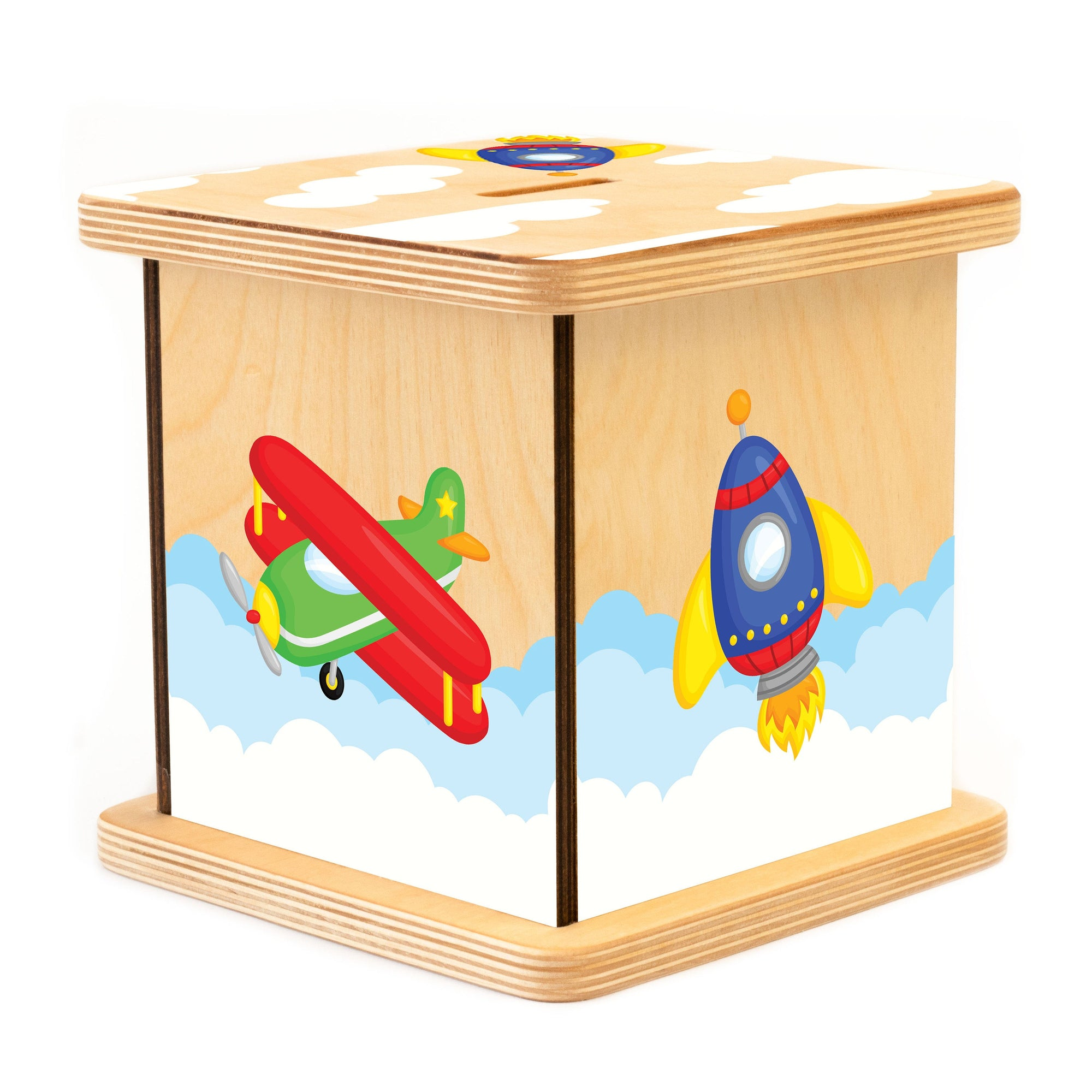 Custom Piggy Bank, Airplane Nursery Decor, Baby Shower Gift, Coin Bank for Boy