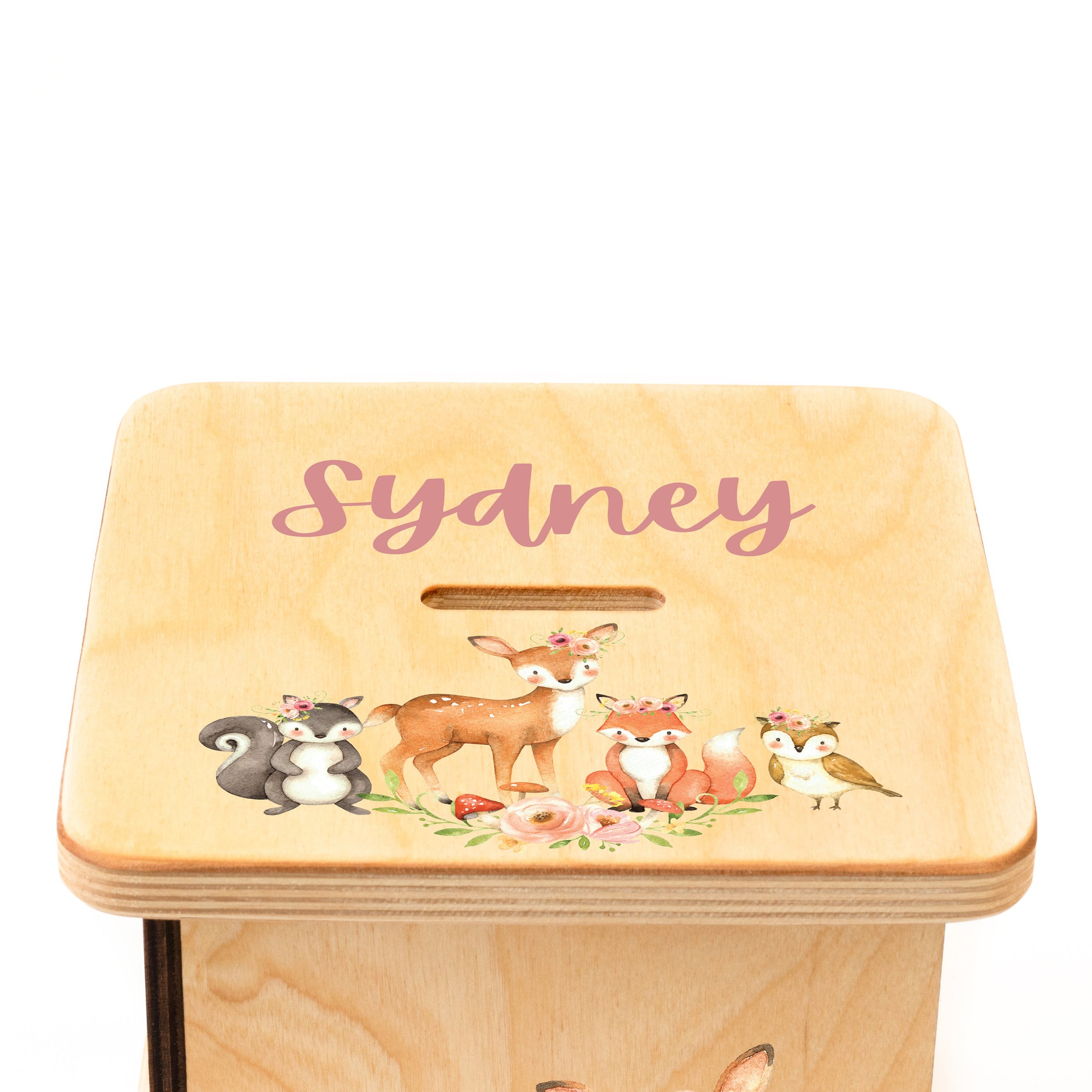 Personalized Piggy Bank, Woodland Nursery, Baby Girl, Nursery Decor, Fox Nursery, Newborn Gift