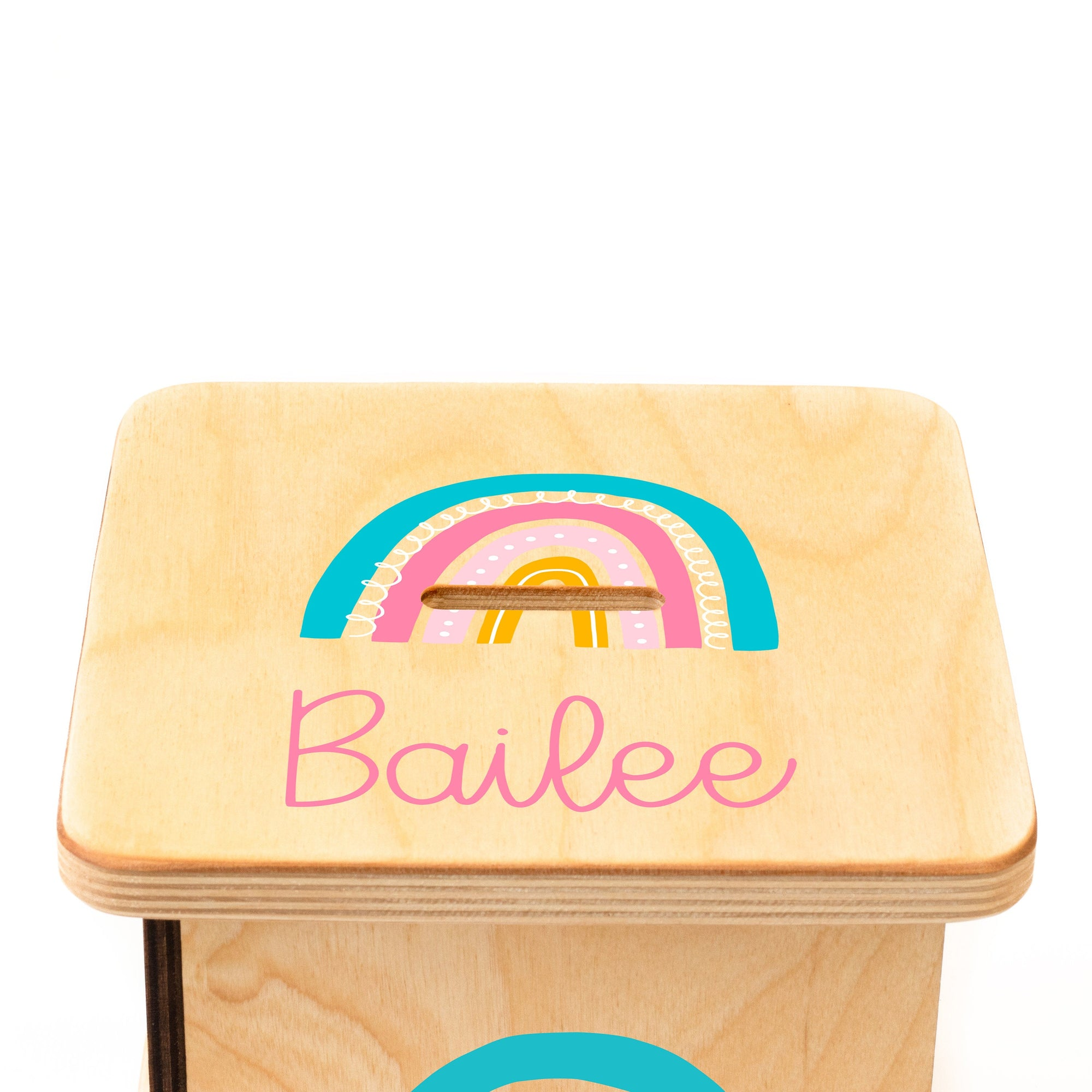 Personalized Girl Piggy Bank, New Baby Girl Gift, Rainbow Decor, Coin Bank