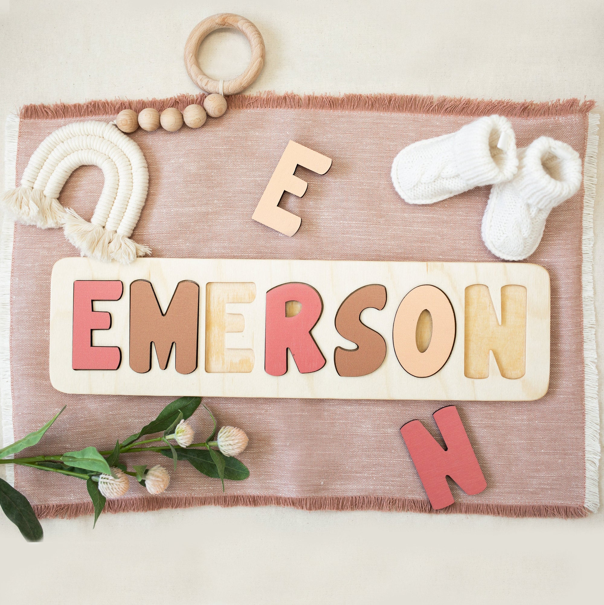Wooden Name Puzzle, Gender Neutral, Earth Tone Nursery, Personalized Gift For Toddler, First Birthday Gift