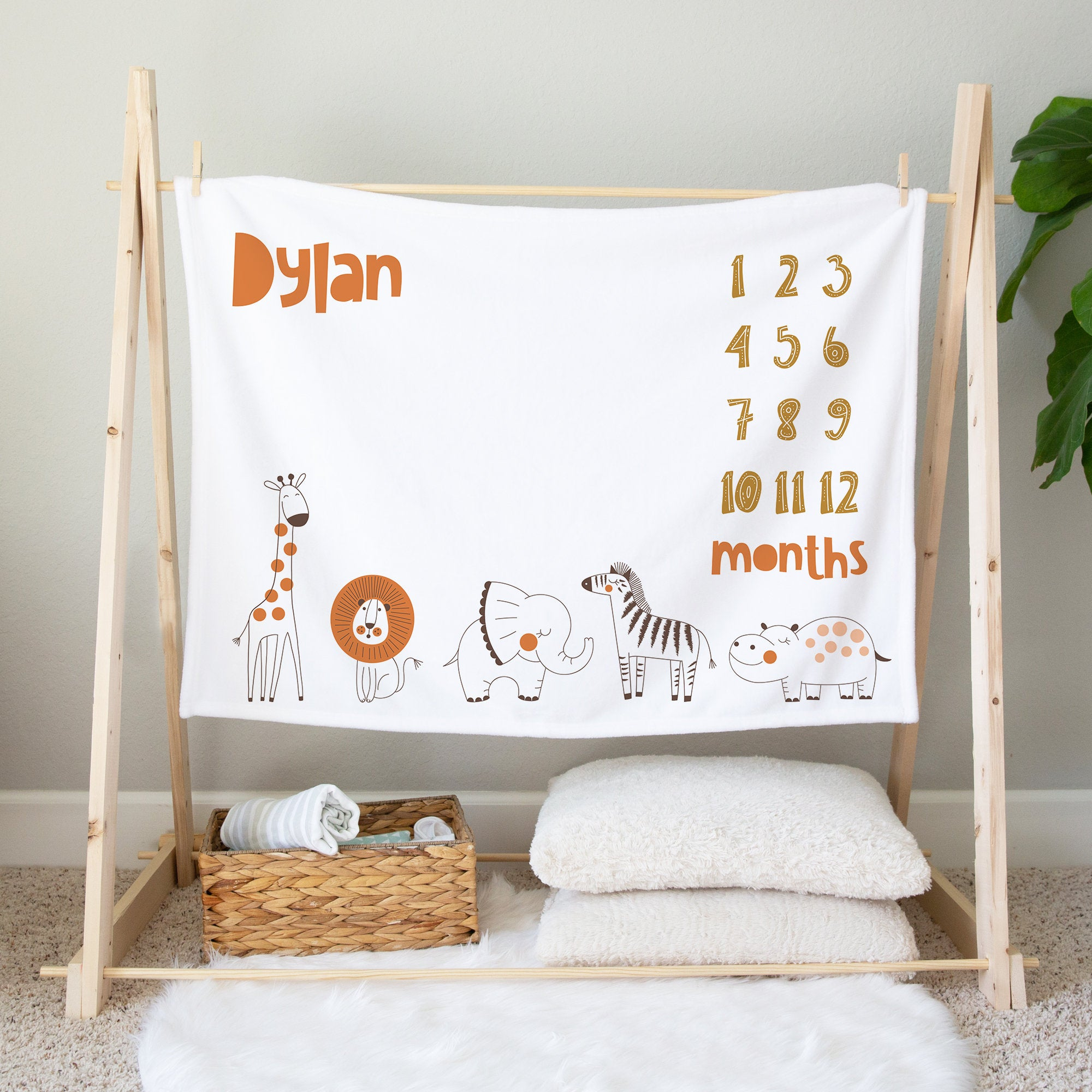 Personalized Milestone Blanket, Safari Baby Blanket, Baby Shower Gift