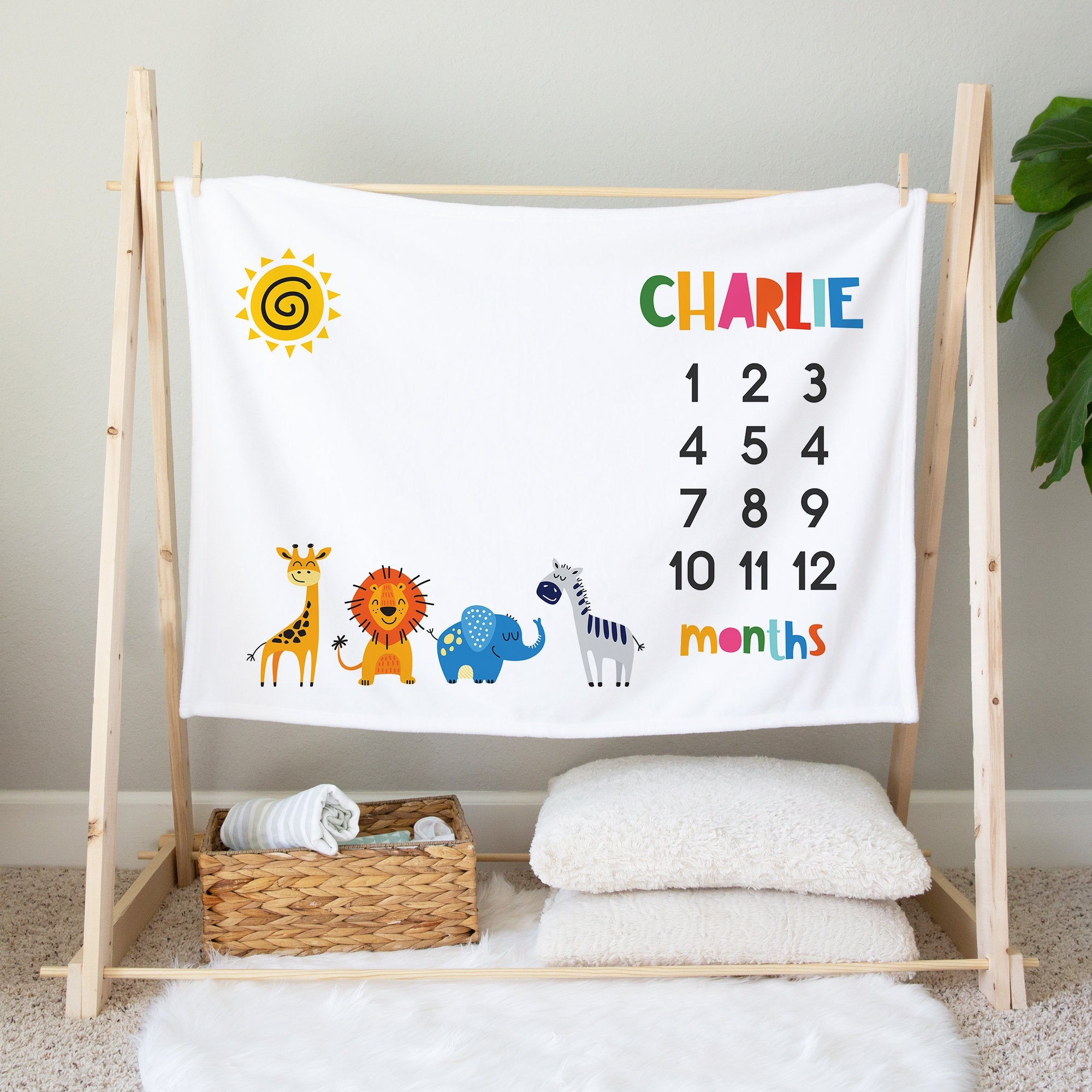 Safari Milestone Blanket, Personalized Minky Blanket For Newborn