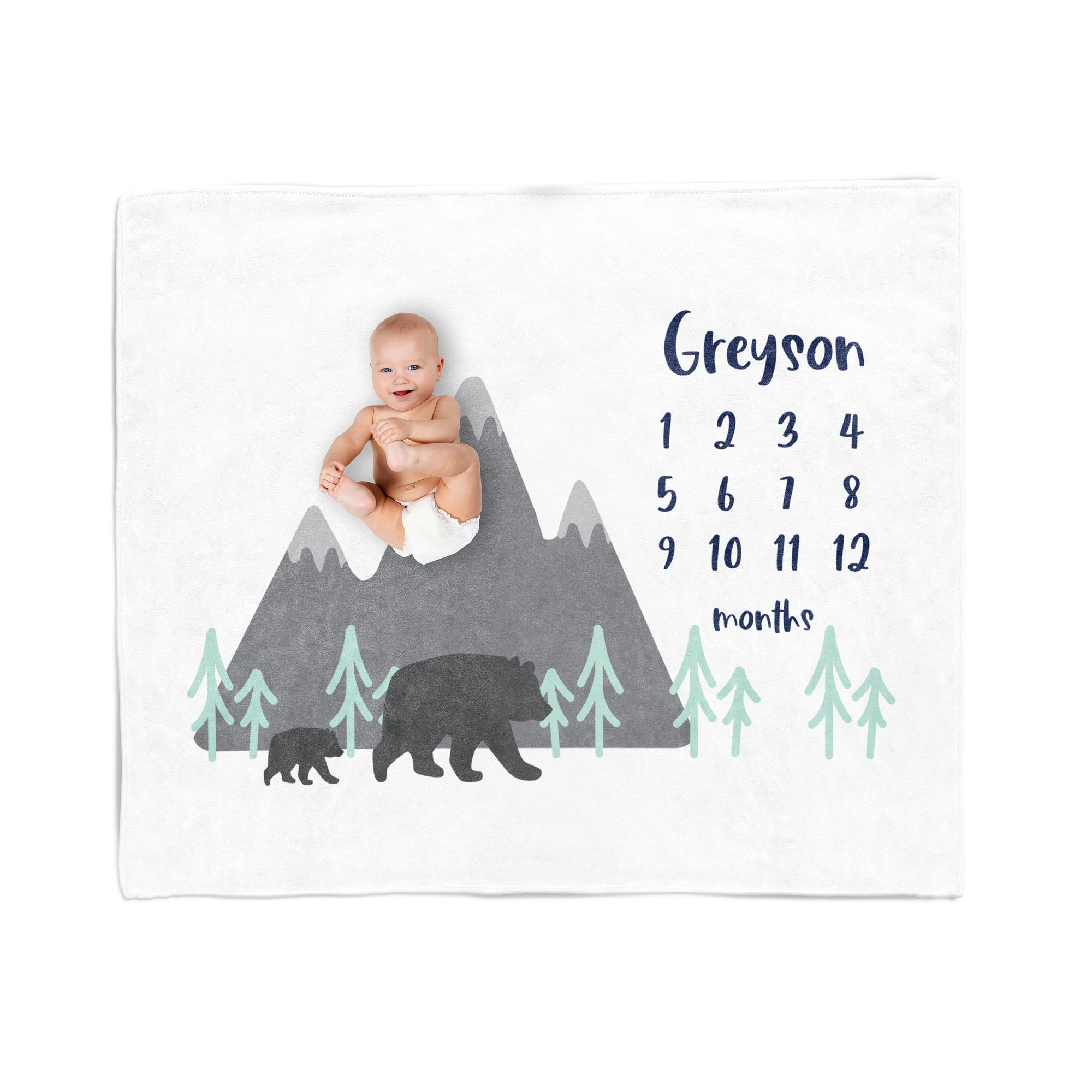Personalized Milestone Blanket, Bear and Mountain, Minky Blanket