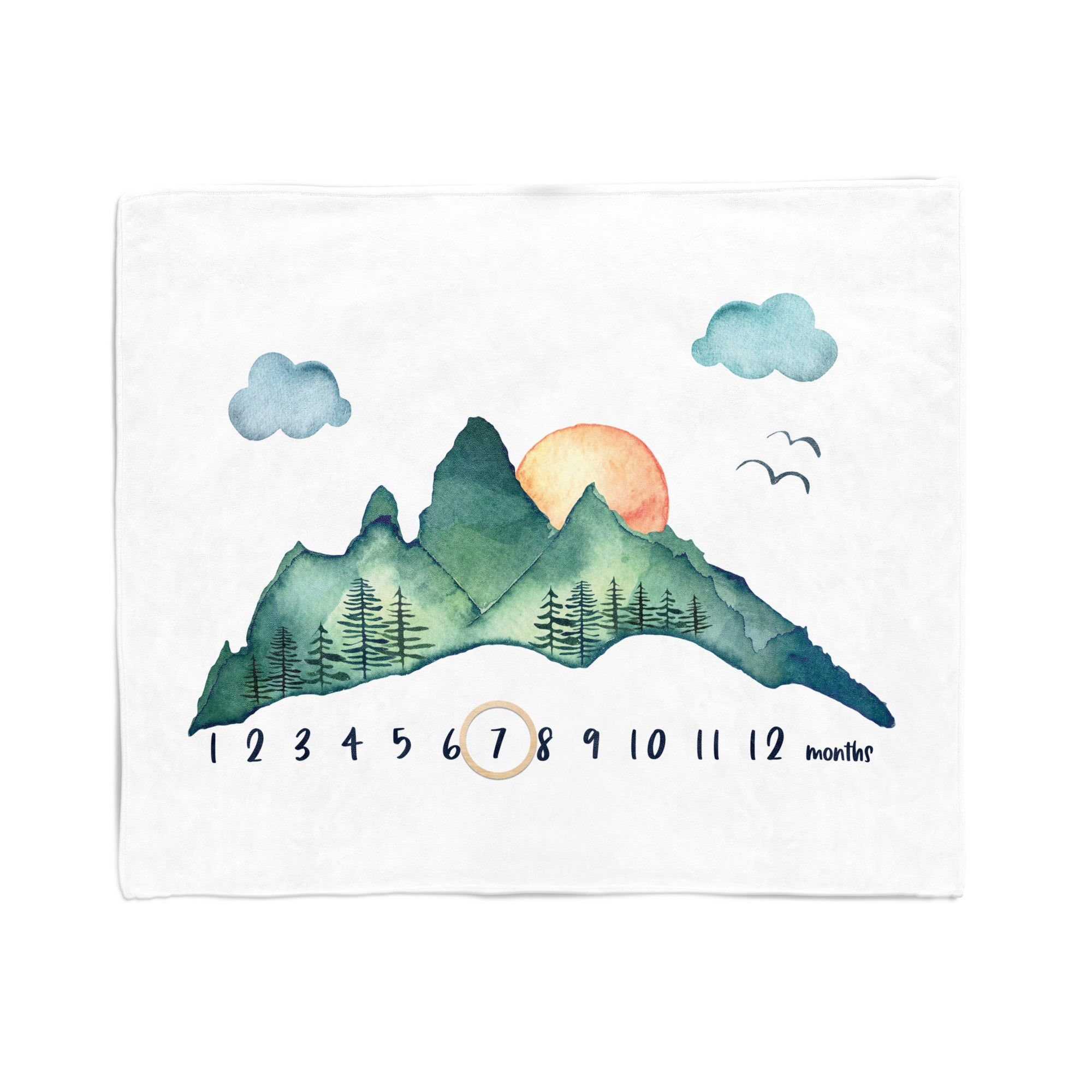 Baby Milestone Blanket, Watercolor Mountains, Personalized Minky Blanket