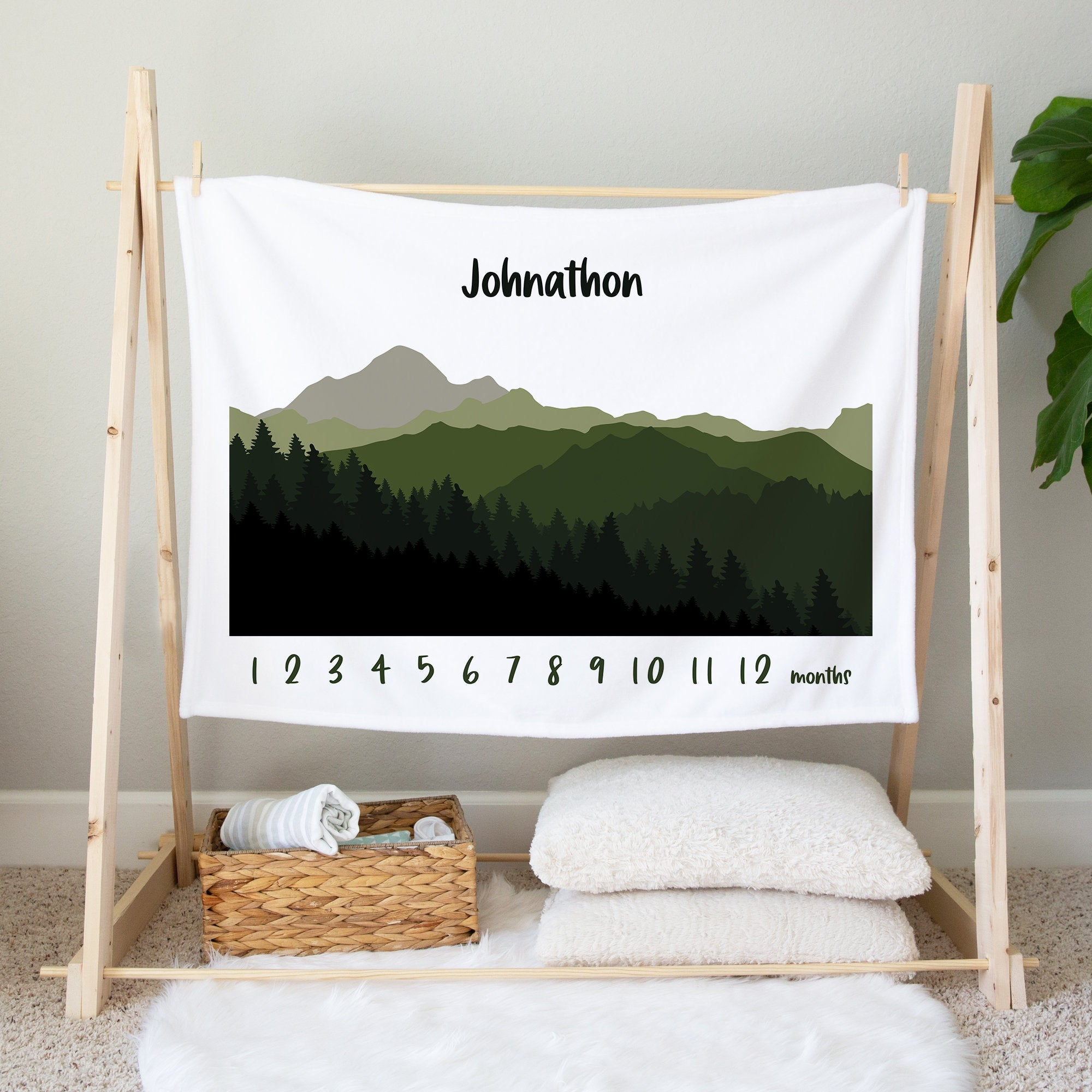 Personalized Milestone Blanket, Colorful Mountains, Minky Baby Blanket